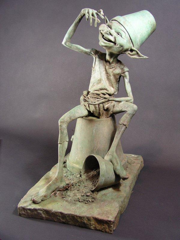 """1023: Bronze Garden Statue Sculpture """"Mischief"""" D Goode"""