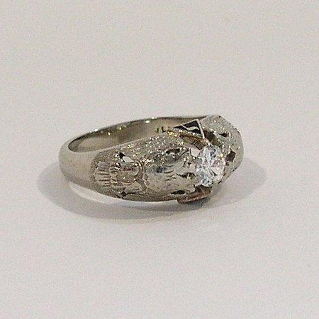 997: Mens 14K White Gold European Cut Diamond Solitare