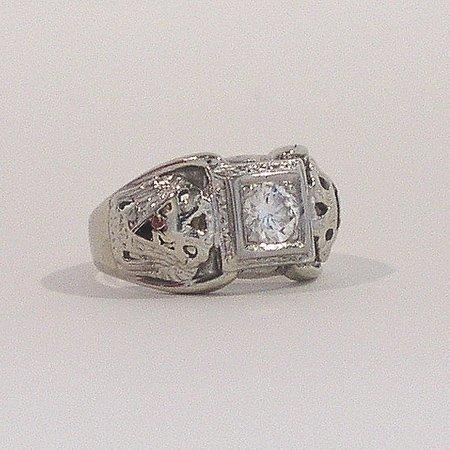 996: Mens 14K White Gold Diamond Solitare Masonic Ring