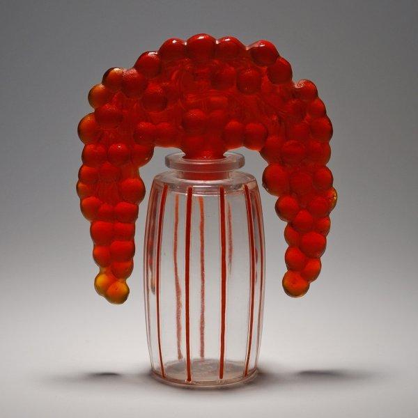 """402: Rene Lalique Perfume Bottle """"Bouchon Cassis"""""""