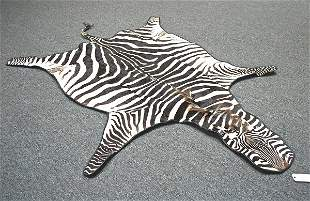 Zebra Rug; Exported from Tanzania 2005 Certificate