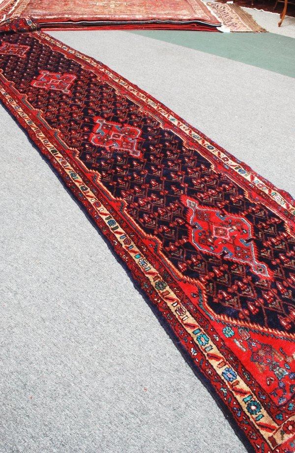3: Persian Handmade Mahal Rug 1950's 3.10 x 18.1