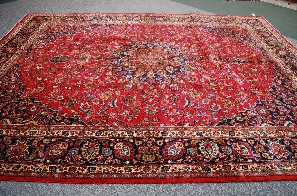 13: Persian Handmade Mashad Rug; 1950's; 10 x 12.9