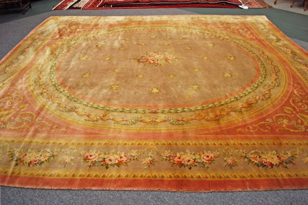 14: 19th Century  French Aubusson  Rug 12 x 13.2