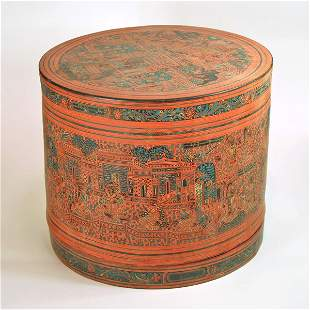 A Cylindrical Decorated Lacquer Thai Food Container