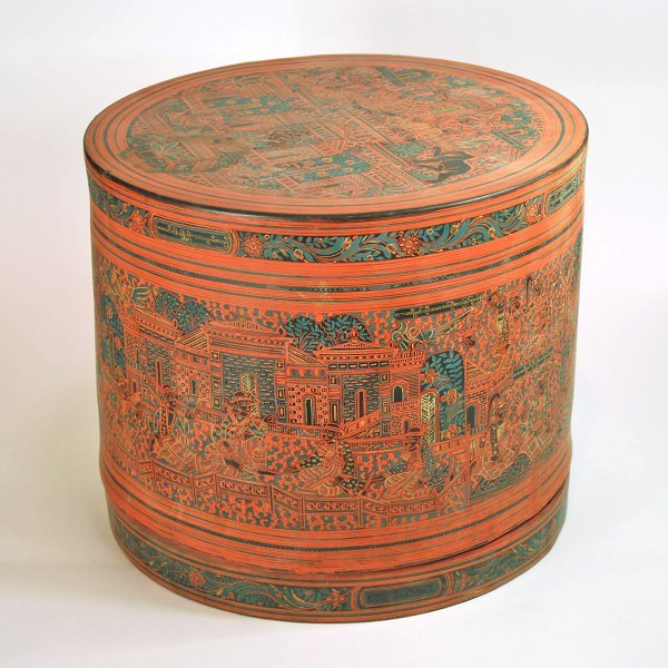 23: A Cylindrical Decorated Lacquer Thai Food Container