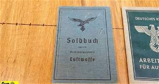 German Lot of 3 WWII ID Booklets Excellent Condition