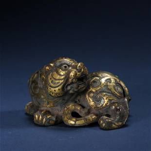 ANCIENT CHINESE BRONZE INLAID WITH GOLD BEAST