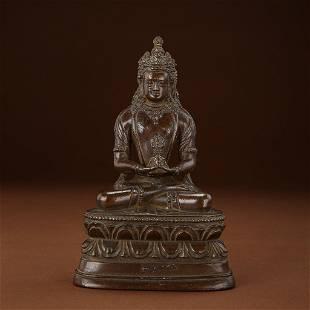ANCIENT CHINESE BRONZE BUDDHA STATUE