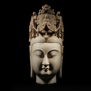 ANCIENT CHINESE CARVED WHITE STONE BUDDHA HEAD