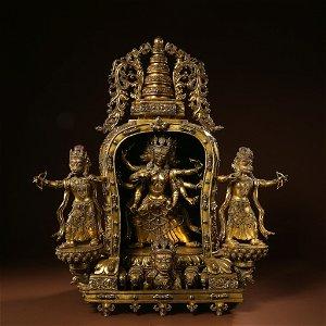 CHINESE TIBETAN GILT BRONZE BUDDHA STATUE