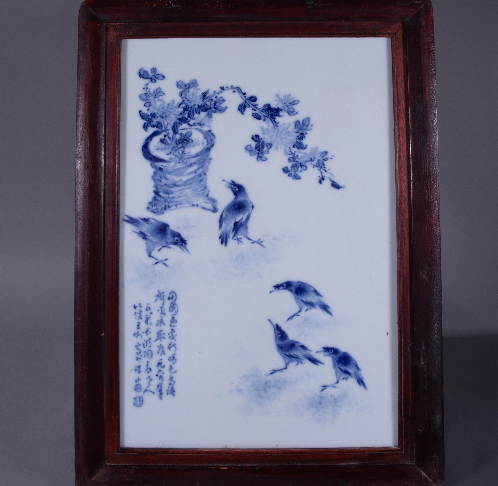 ANCIENT CHINESE BLUE AND WHITE PORCELAIN PANEL PAINTING