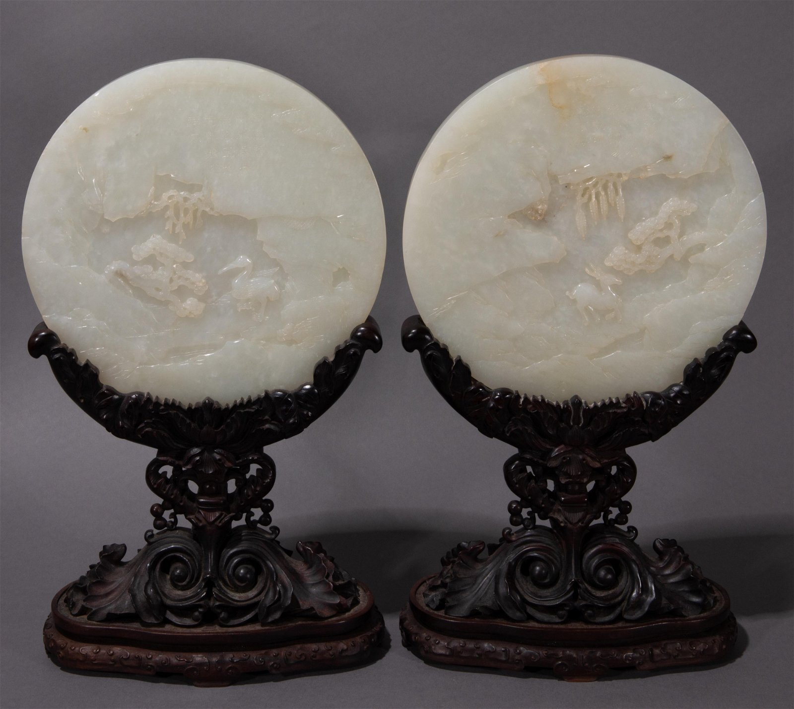 A PAIR OF ANCIENT CHINESE HETIAN WHITE JADE TABLE