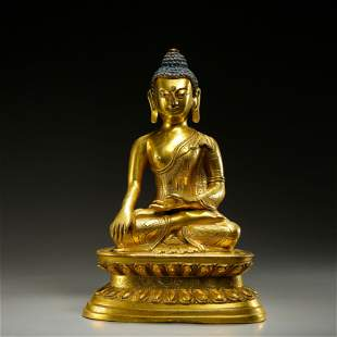 QING DYNASTY, CHINESE SEATED GILT BRONZE BUDDHA STATUE