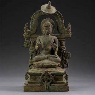 OLD INDIAN BRONZE SEATED BUDDHA STATUE