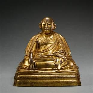 OLD TIBETAN GILT BRONZE SEATED BUDDHA STATUE