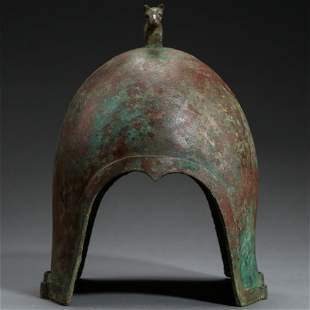 ANCIENT CHINESE BRONZE HELMET