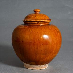 GONGXIAN WARE YELLOW-GLAZED PORCELAIN JAR WITH LID,