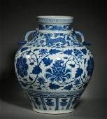 A LARGE BLUE AND WHITE JAR IN THE YUAN DYNASTY, CHINA,