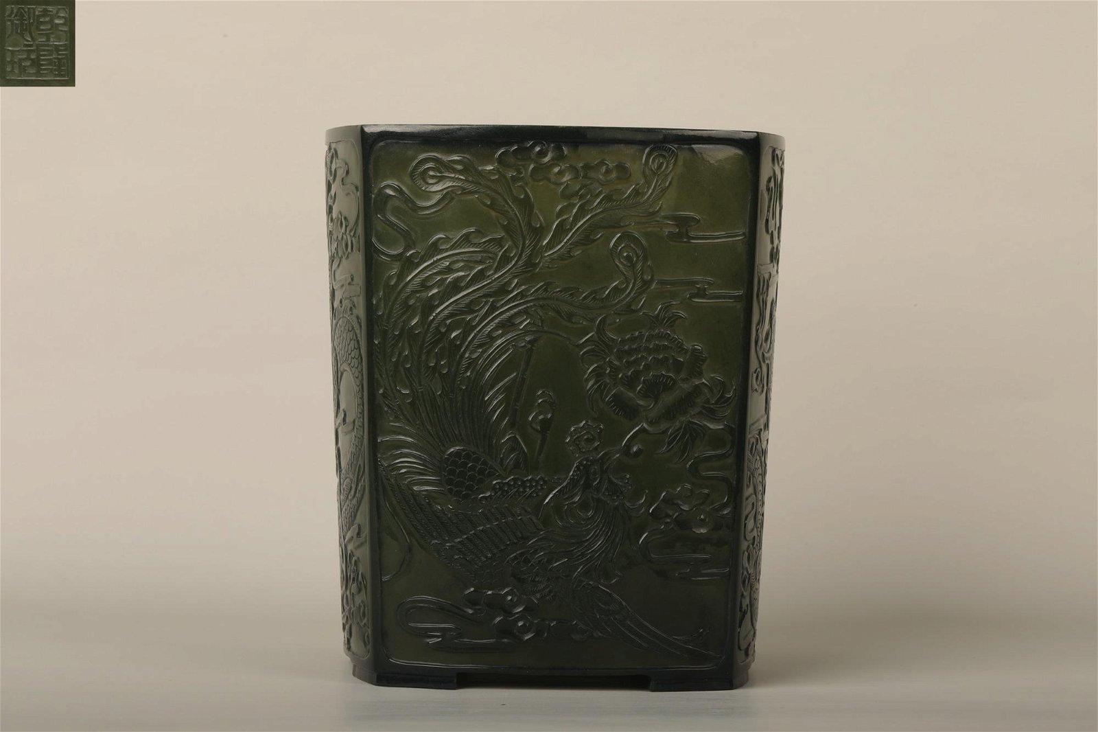 A SPINACH GREEN BRUSH POT, QIANLONG PERIOD