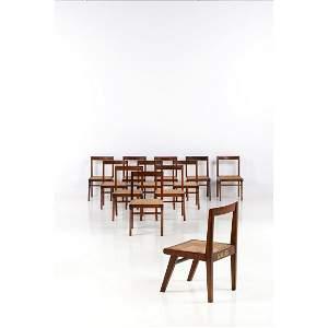 Pierre Jeanneret (1896-1967) Set of twelve chairs Teak