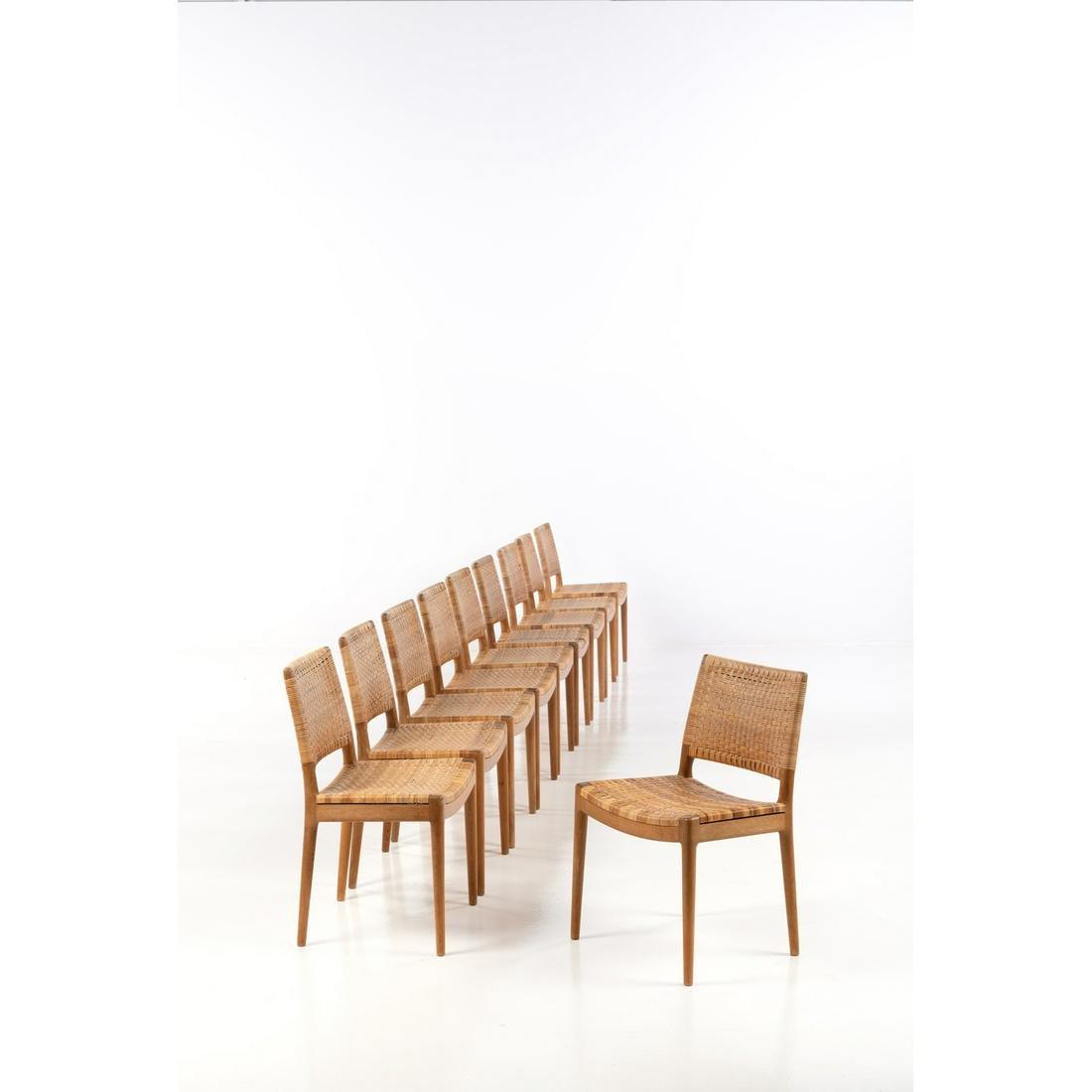 Hans J. Wegner (1914-2007) Set of ten chairs Oakwood