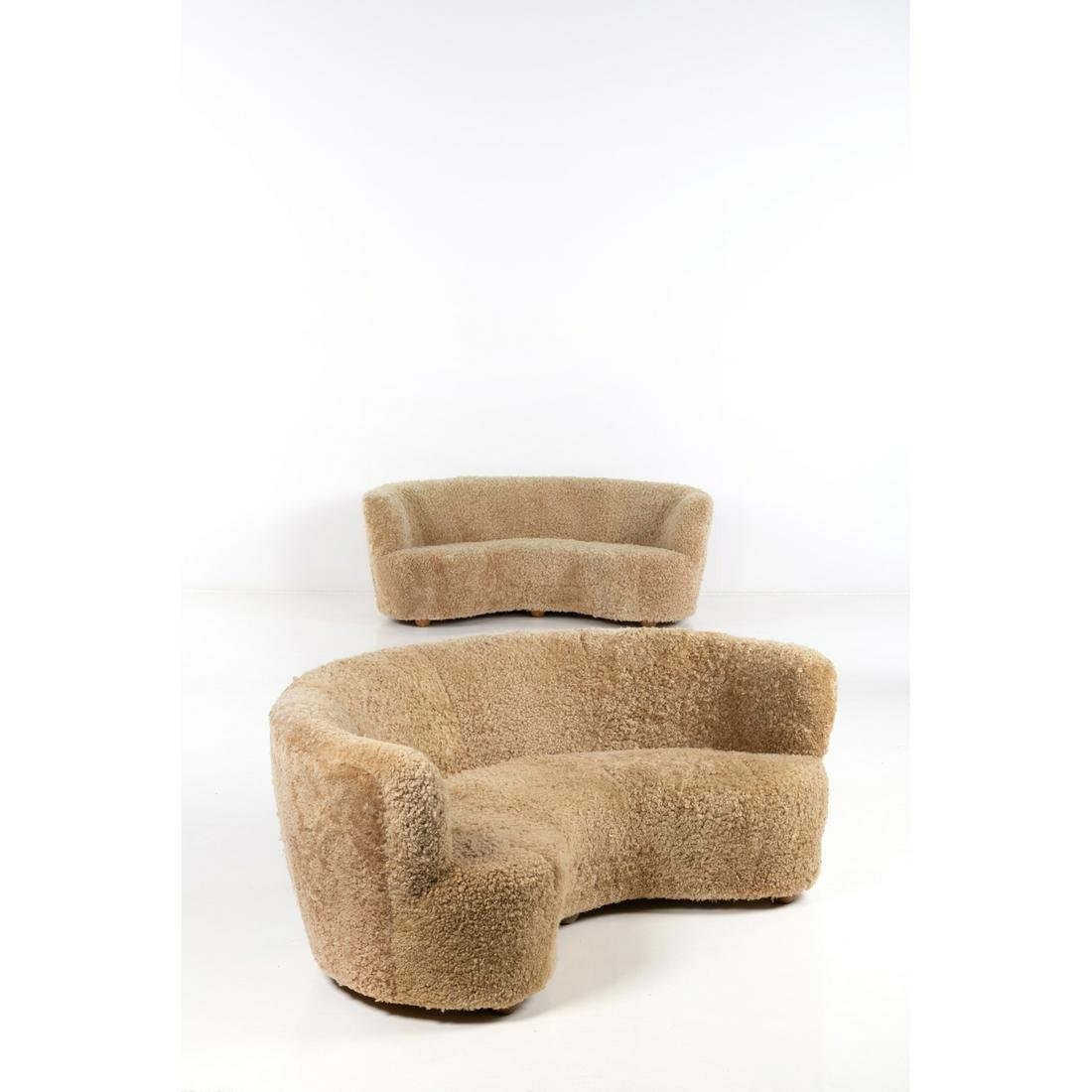 Scandinavian production Pair of sofas Wood and