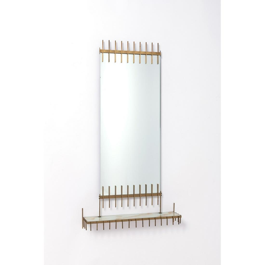 Ettore Sottsass (1917-2007) Mirror with shelf Brass,