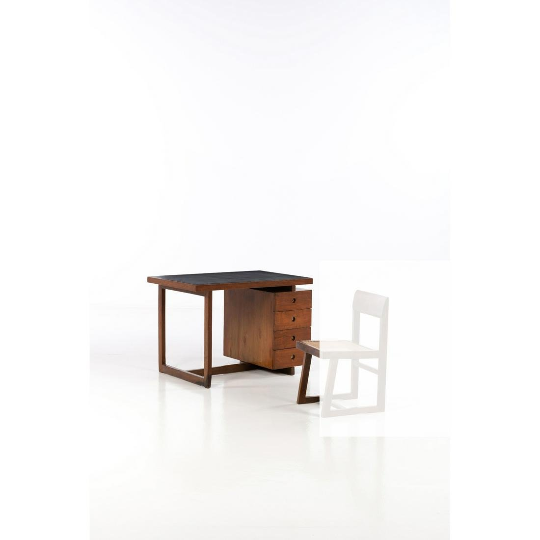 Pierre Jeanneret (1896-1967) Desk Teak, leather and