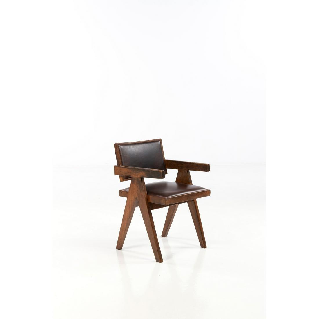 Pierre Jeanneret (1896-1967) Office chair Armchair Teak