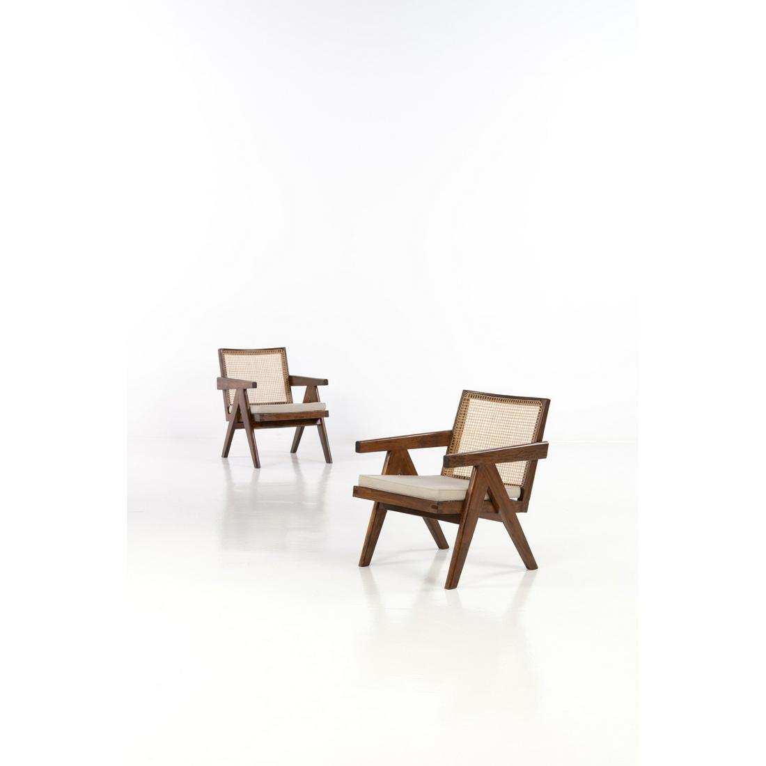 Pierre Jeanneret (1896-1967) Easy armchair Pair of