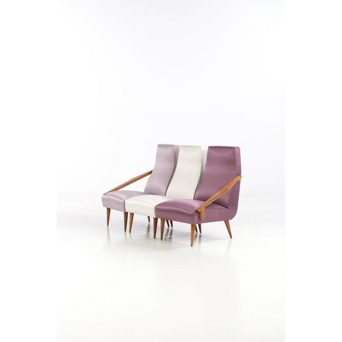 Gio Ponti (1891-1979) Hassock with three seatings  Ash