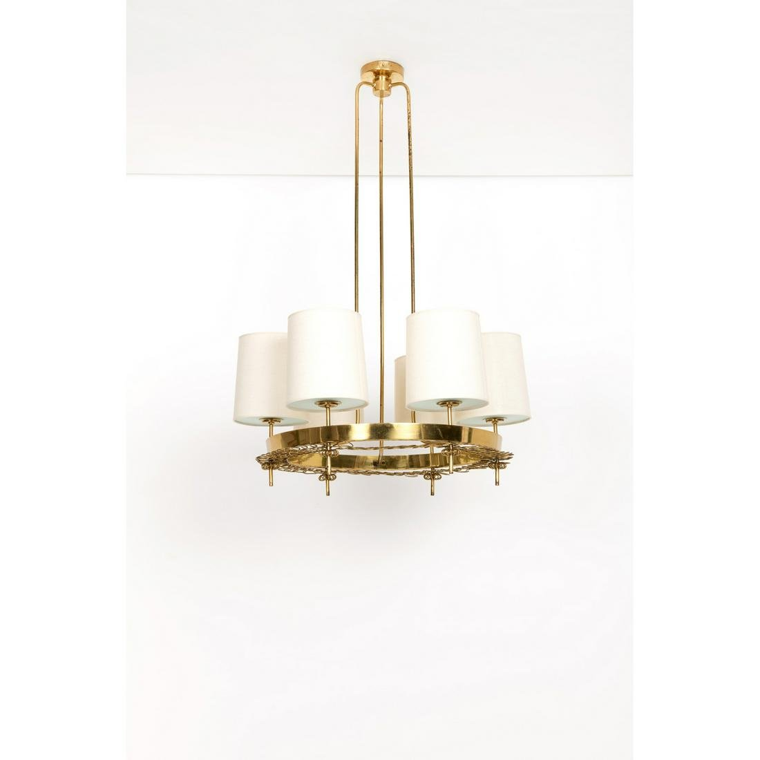 Paavo Tynell (1890-1973) Suspension Brass, opaline