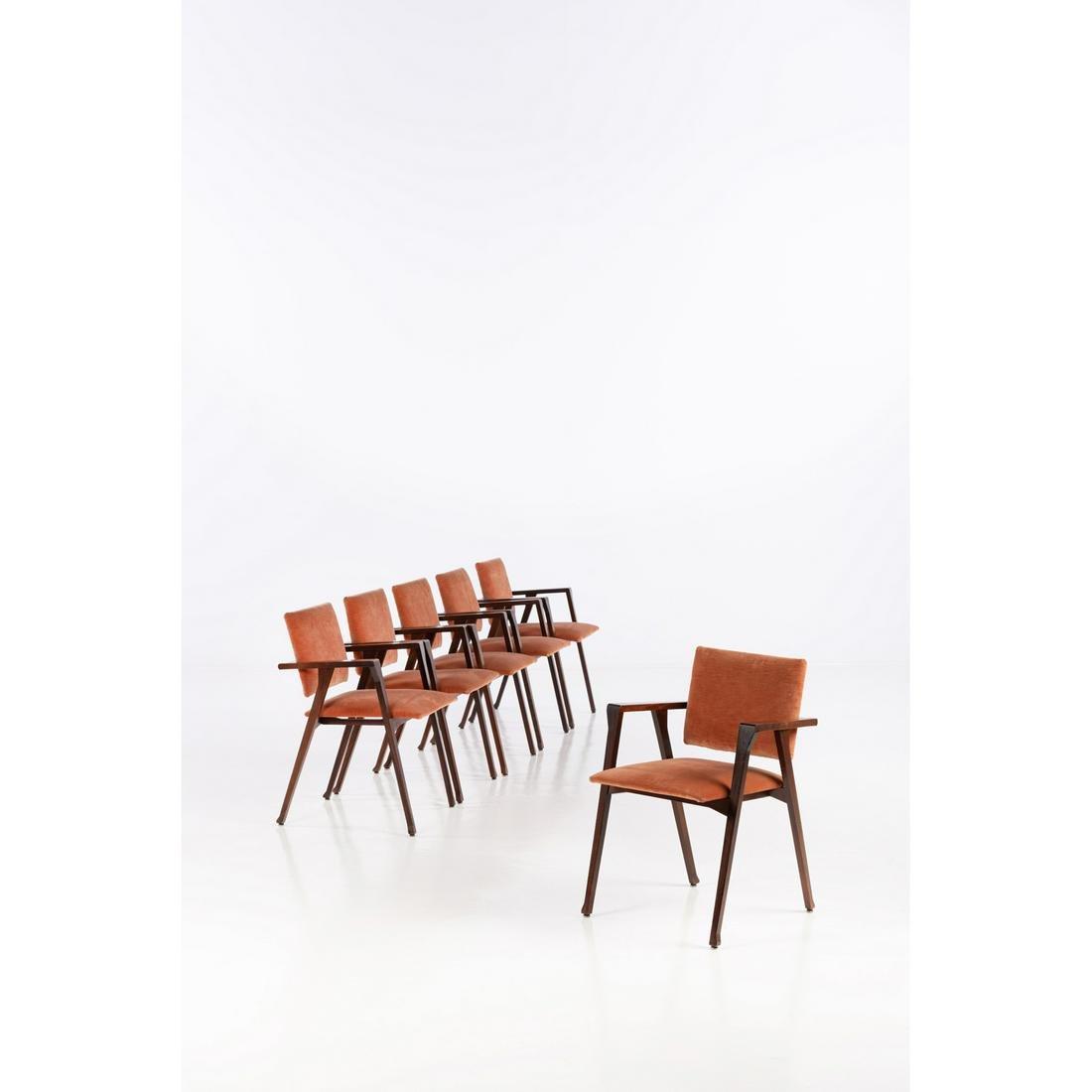 Franco Albini (1905-1977) Luisa Set of six armchairs
