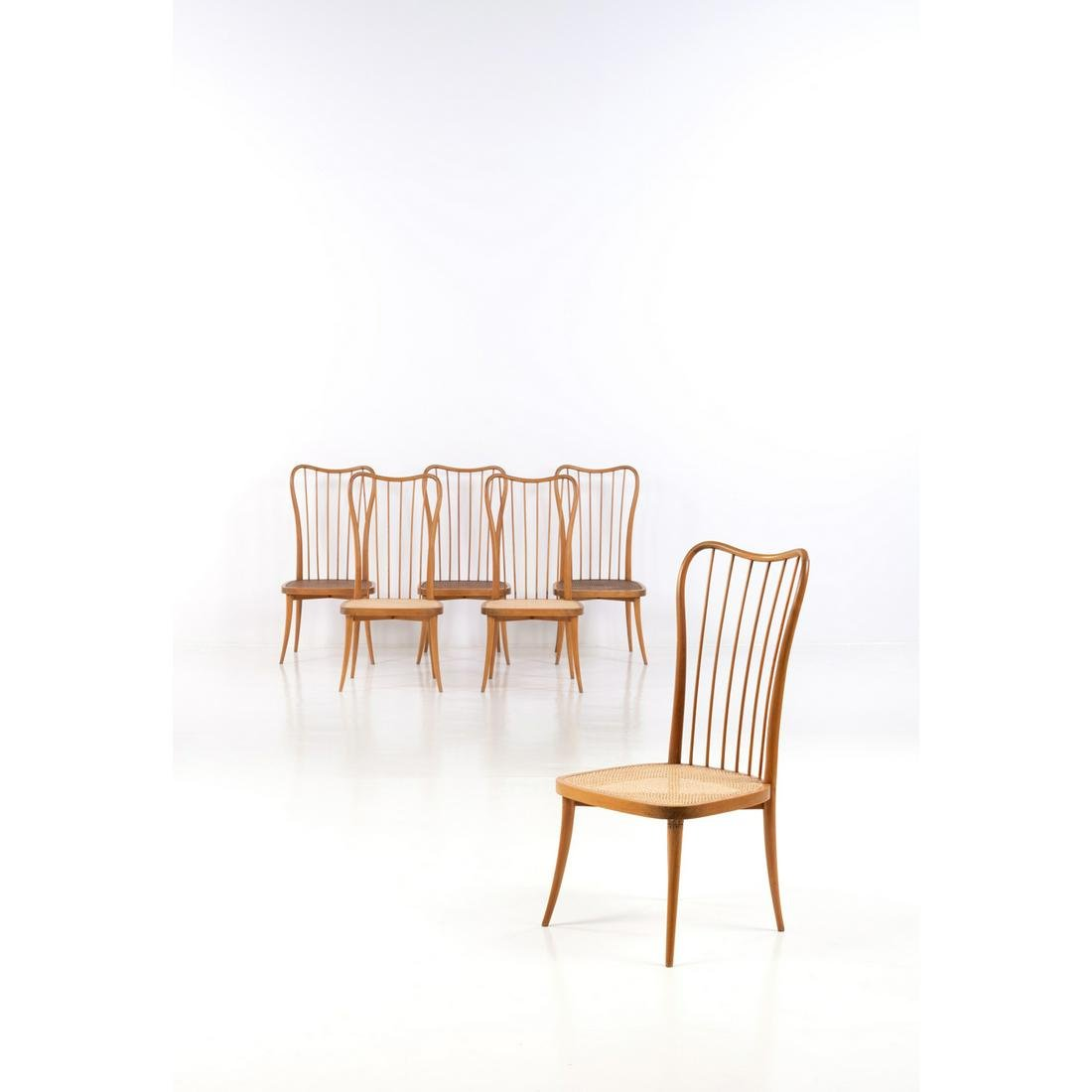 Joaquim Tenreiro (1906-1992) Set of six chairs Wood and
