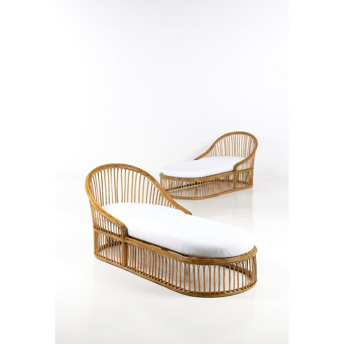 Travail italien (XX) Pair of daybeds Rattan and fabric