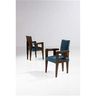 André Sornay (1902-2000) Pair of Bridge armchairs