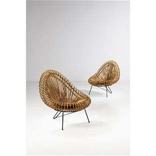 Italian production (20th c.) Pair of armchairs