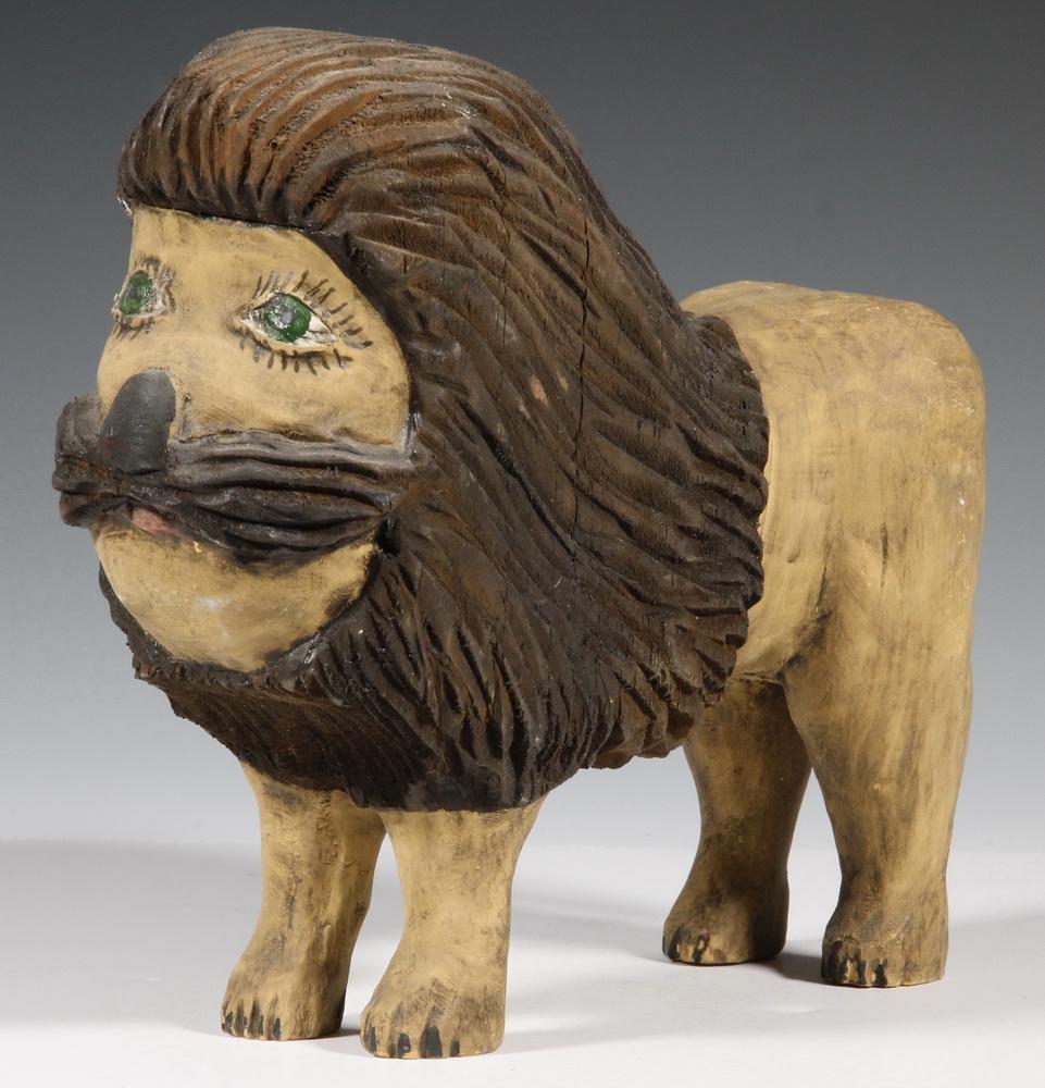 FOLK ART LION SCULPTURE, BILL DUFFY