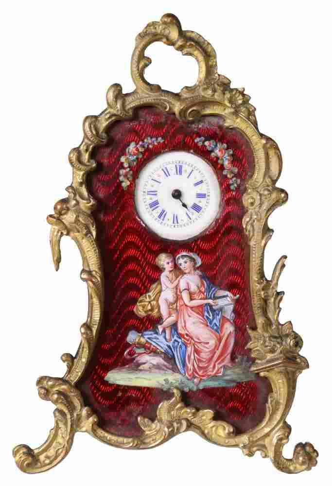 AUSTRIAN ENAMEL & BRONZE MINIATURE CLOCK