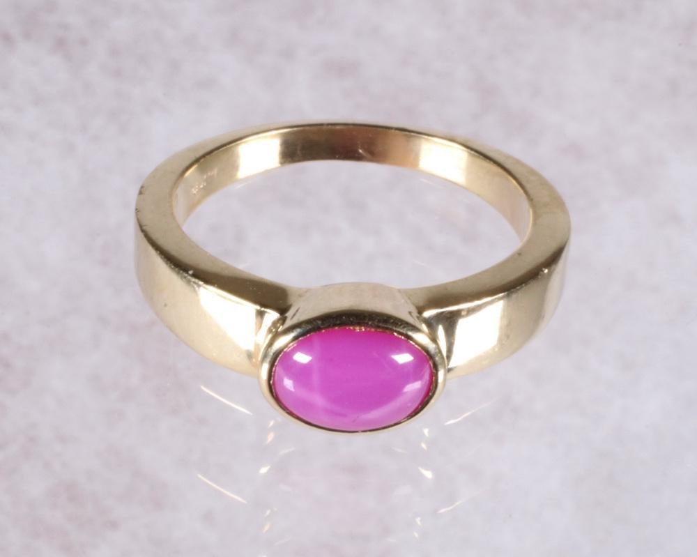 OVAL PINK STAR SAPPHIRE RING IN 14K GOLD