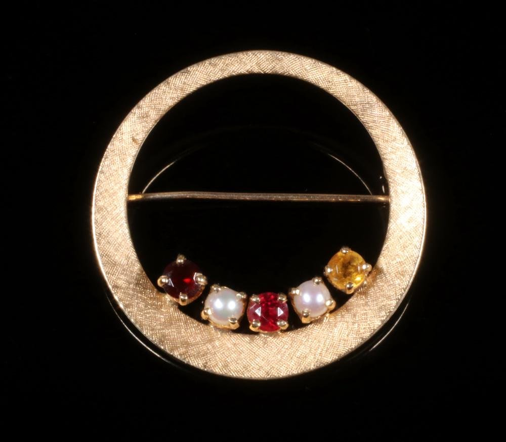 PEARL, GARNET, RUBY AND CITRINE 14K GOLD CIRCLE BROOCH
