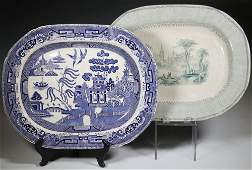 (2) ENGLISH IRONSTONE TRANSFERWARE PLATTERS