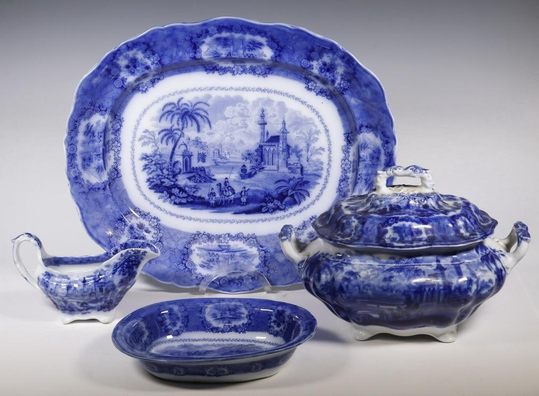 (4 PCS) WILLIAM RIDGWAY FLOW BLUE TRANSFERWARE