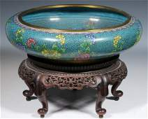 CHINESE CLOISONNE LOW BOWL ON STAND