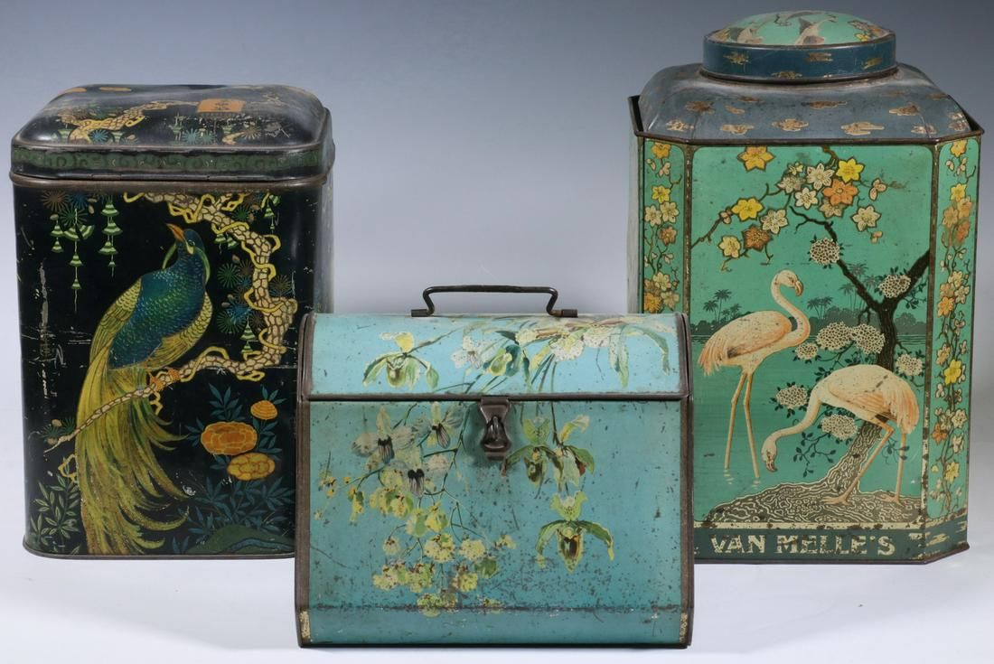 (3) DECORATED TINS