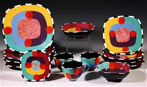23 PCS ART POTTERY DISHES