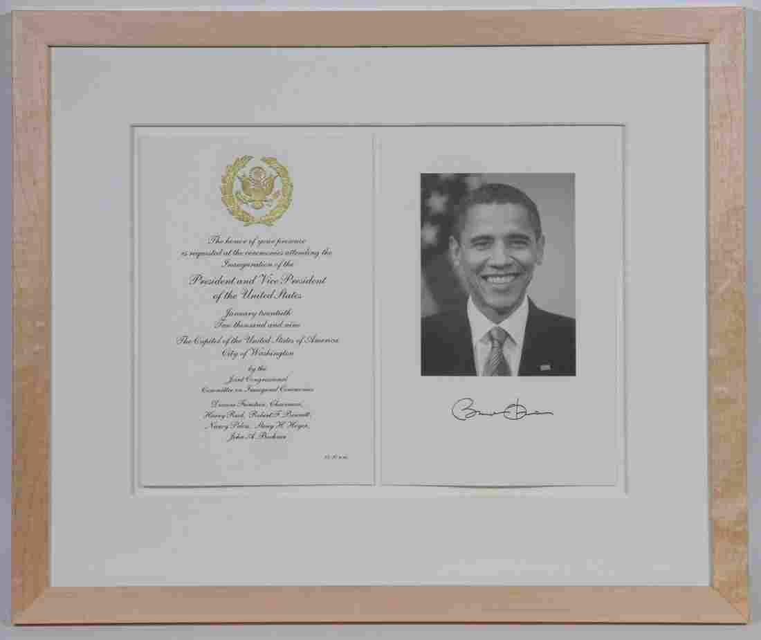 SIGNED OBAMA & BIDEN PHOTOS  WITH INAUGURAL INVITATIONS