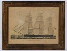 CURRIER  IVES SMALL FOLIO MARINE PRINT FRAMED