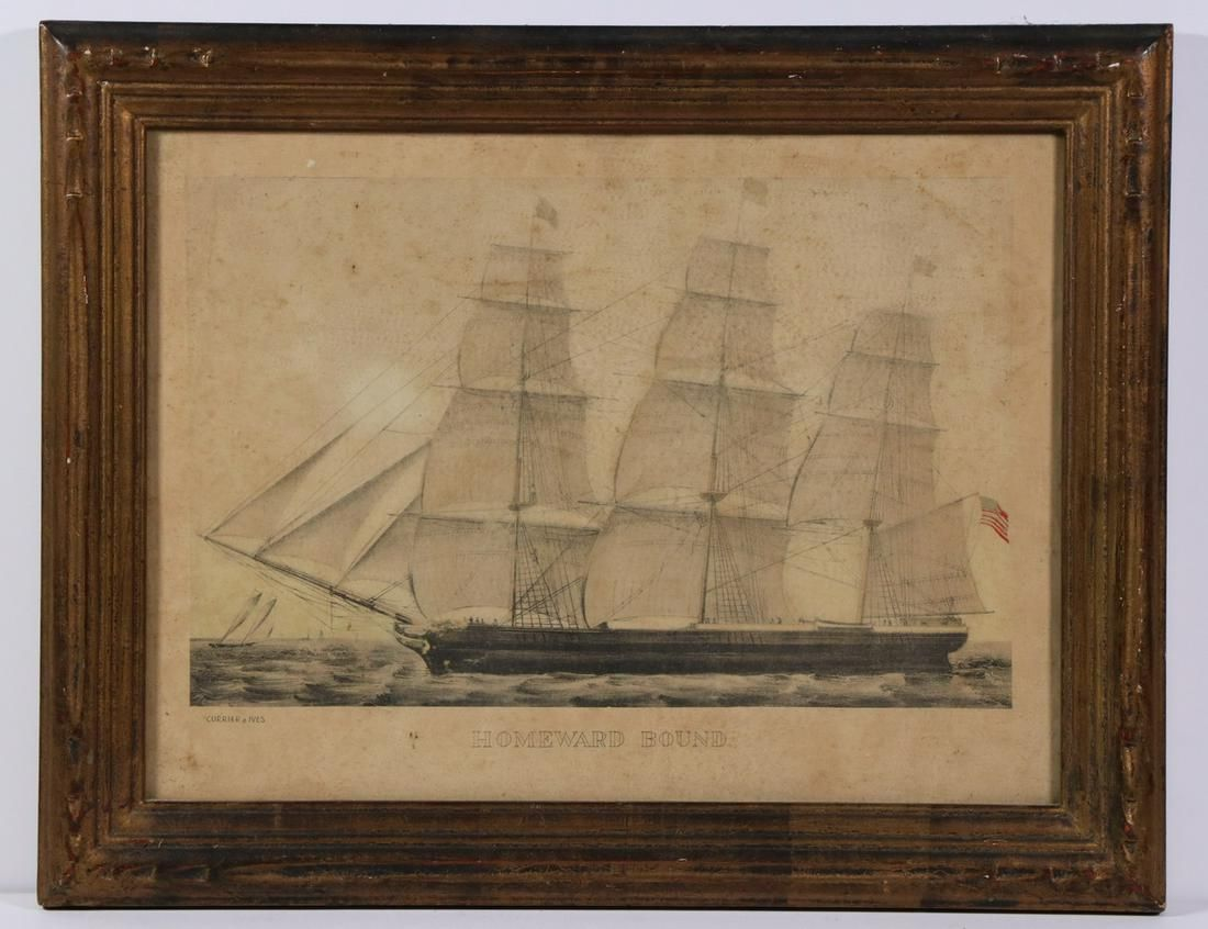 CURRIER & IVES SMALL FOLIO MARINE PRINT, FRAMED